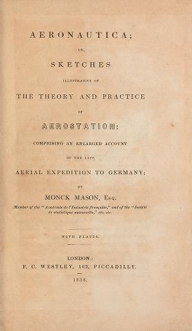 "Cover of ""Aeronautica; or, Sketches illustrative of the theory and practice of aerostation; comprising an enlarged account of the late aerial expedition to Germ"""