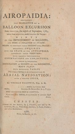"Cover of ""Airopaidia: containing the narrative of a balloon excursion from Chester, the eighth of September, 1785, taken from minutes made during the voyage: hi"""