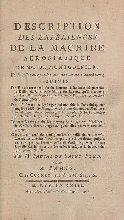 "Cover of ""Description des expériences de la machine aérostatique de MM."""
