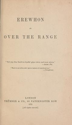 "Cover of ""Erewhon, or, Over the range /"""