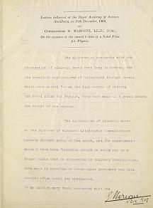 """Cover of """"Lecture delivered at the Royal Academy of Science, Stockholm, on 11th December 190 On the occasion of the award to him of a Nobel Prize for Physics"""""""