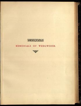 "Cover of ""Memorials of Wedgwood"""