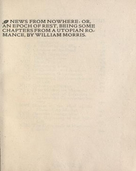 "Cover of ""News from nowhere, or, An epoch of rest : being some chapters from a Utopian romance /"""