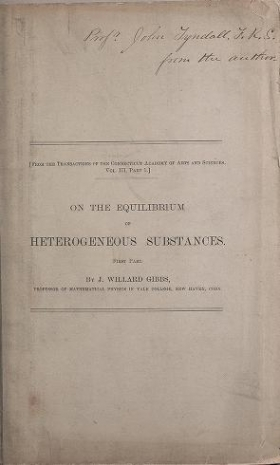 "Cover of ""On the equilibrium of heterogeneous substances : first [-second] part"""