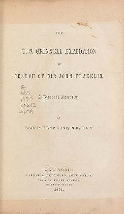 "Cover of ""The U.S. Grinnell expedition in search of Sir John Franklin. A personal narrative."""