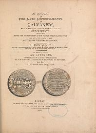 "Cover of ""An account of the late improvements in galvanism : with a series of curious and interesting experiments performed before the commissioners of the Fren"""