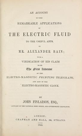 """Cover of """"An account of some remarkable applications of the electric fluid to the useful arts, by Mr. Alexander Bain"""""""