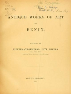 """Cover of """"Antique works of art from Benin"""""""