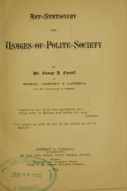 """Cover of """"Art stationery and usages of polite society"""""""