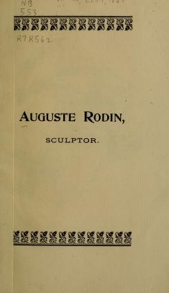 """Cover of """"Auguste Rodin, sculptor"""""""