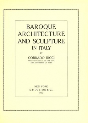 """Cover of """"Baroque architecture and sculpture in Italy"""""""