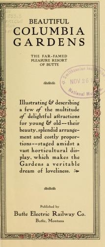 "Cover of ""Beautiful Columbia Gardens"""