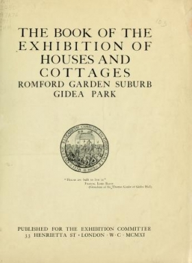"Cover of ""The book of the exhibition of houses and cottages, Romford garden suburb, Gidea Park"""
