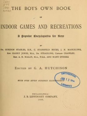 """Cover of """"The boy's own book of indoor games and recreations"""""""