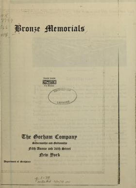 "Cover of ""Bronze memorials"""