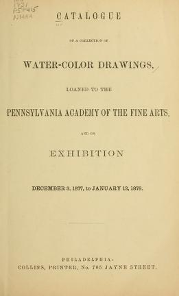 """Cover of """"Catalog of a collection of water-color drawings"""""""