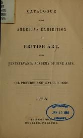 "Cover of ""Catalogue of the American exhibition of British art"""
