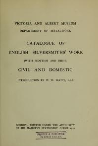 """Cover of """"Catalogue of English silversmiths' work (with Scottish and Irish) civil and domestic"""""""