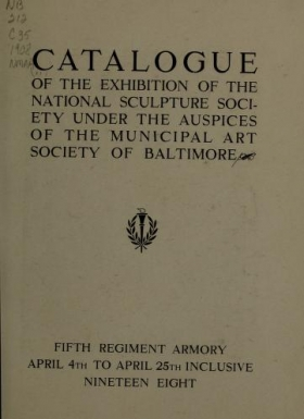 """Cover of """"Catalogue of the exhibition of the National Sculpture Society under the auspices of the Municipal Art Society of Baltimore"""""""