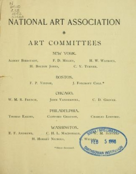 "Cover of ""Catalogue of the first national loan exhibition of the National Art Association"""