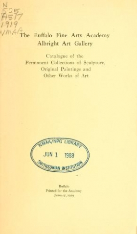 "Cover of ""Catalogue of the permanent collections of sculpture, original paintings and other works of art"""