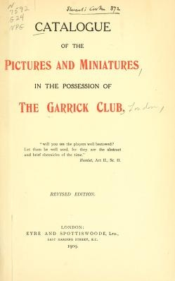 """Cover of """"Catalogue of the pictures and miniatures in the possession of the Garrick Club"""""""