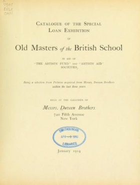 "Cover of ""Catalogue of the special loan exhibition of old masters of the British school in aid of ""The artists' fund"" and ""Artists' aid"" societies"""