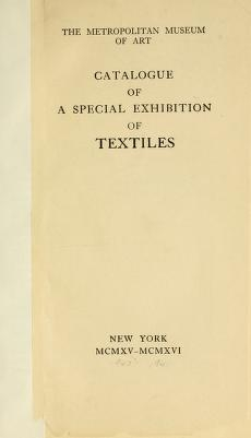 """Cover of """"Catalogue of a special exhibition of textiles"""""""