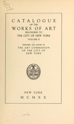 "Cover of ""Catalogue of the works of art belonging to the city of New York"""