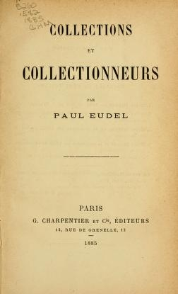 """Cover of """"Collections et collectionneurs"""""""