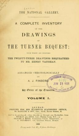 """Cover of """"A complete inventory of the drawings of the Turner bequest"""""""