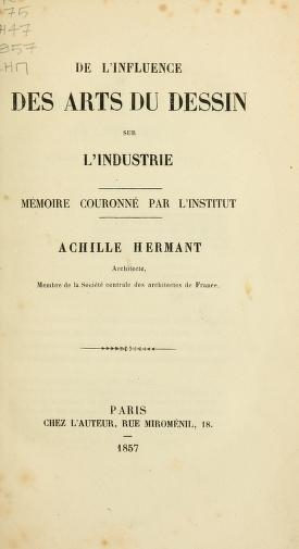 "Cover of ""De l'influence des arts du dessin sur l'industrie"""