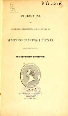 "Cover of ""Directions for collecting, preserving and transporting specimens of natural history /"""