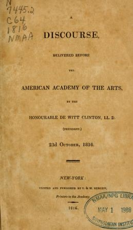 """Cover of """"A discourse delivered before the American Academy of the Arts"""""""