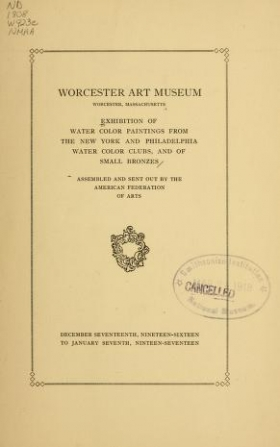 """Cover of """"Exhibition of water color paintings from the New York and Philadelphia water color clubs, and of small bronzes"""""""