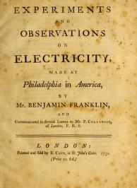 """Cover of """"Experiments and observations on electricity"""""""