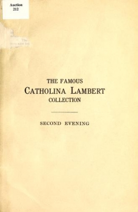 """Cover of """"The famous Catholina Lambert collection"""""""