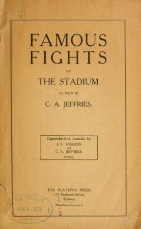 """Cover of """"Famous fights at the stadium"""""""