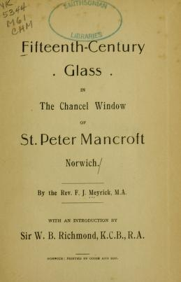 """Cover of """"Fifteenth-century glass in the chancel window of St. Peter Mancroft, Norwich"""""""