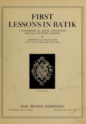 "Cover of ""First lessons in batik"""