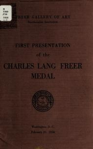 """Cover of """"First presentation of the Charles Lang Freer medal, February 25, 1956"""""""