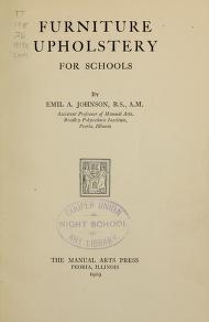 "Cover of ""Furniture upholstery for schools"""