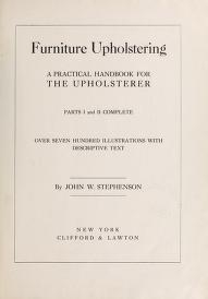 """Cover of """"Furniture upholstering"""""""
