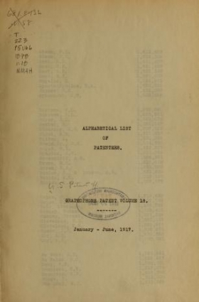 """Cover of """"[Graphophone patents]"""""""