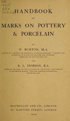 """Cover of """"Handbook of marks on pottery & porcelain"""""""