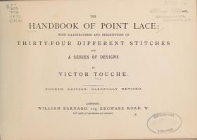 """Cover of """"The handbook of point lace"""""""