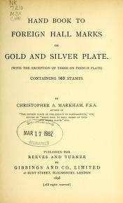 """Cover of """"Hand book to foreign hall marks on gold and silver plate"""""""