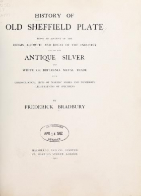 """Cover of """"History of old Sheffield plate"""""""