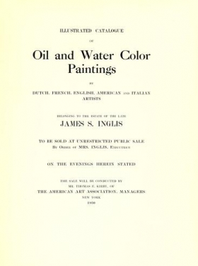 "Cover of ""Illustrated catalogue of oil and water color paintings by Dutch, French, English, American and Italian artists"""