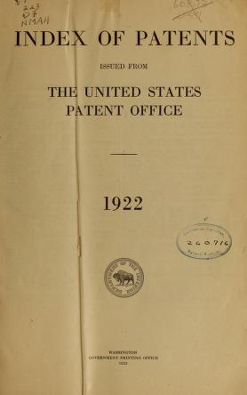 "Cover of ""Index of patents issued from the United States Patent Office"""